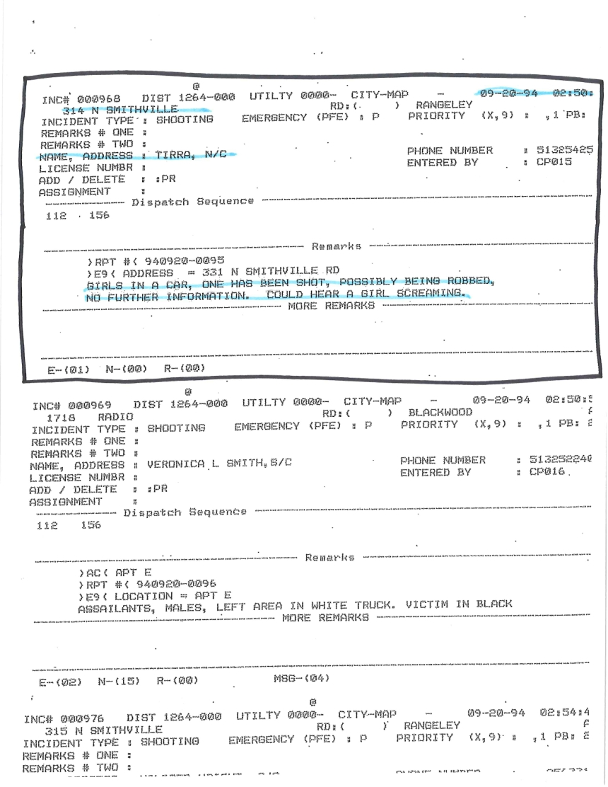 Dispatch Entry For Tyra's 911 Call.